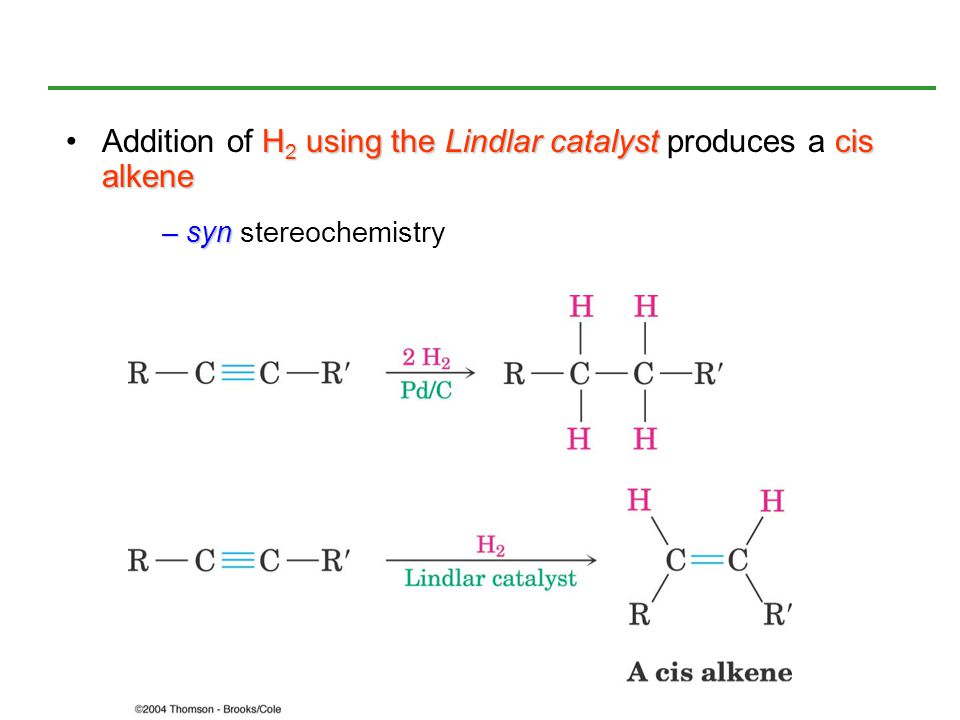 Addition of H2 using the Lindlar catalyst produces a cis alkene