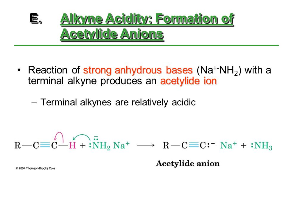 E. Alkyne Acidity: Formation of Acetylide Anions