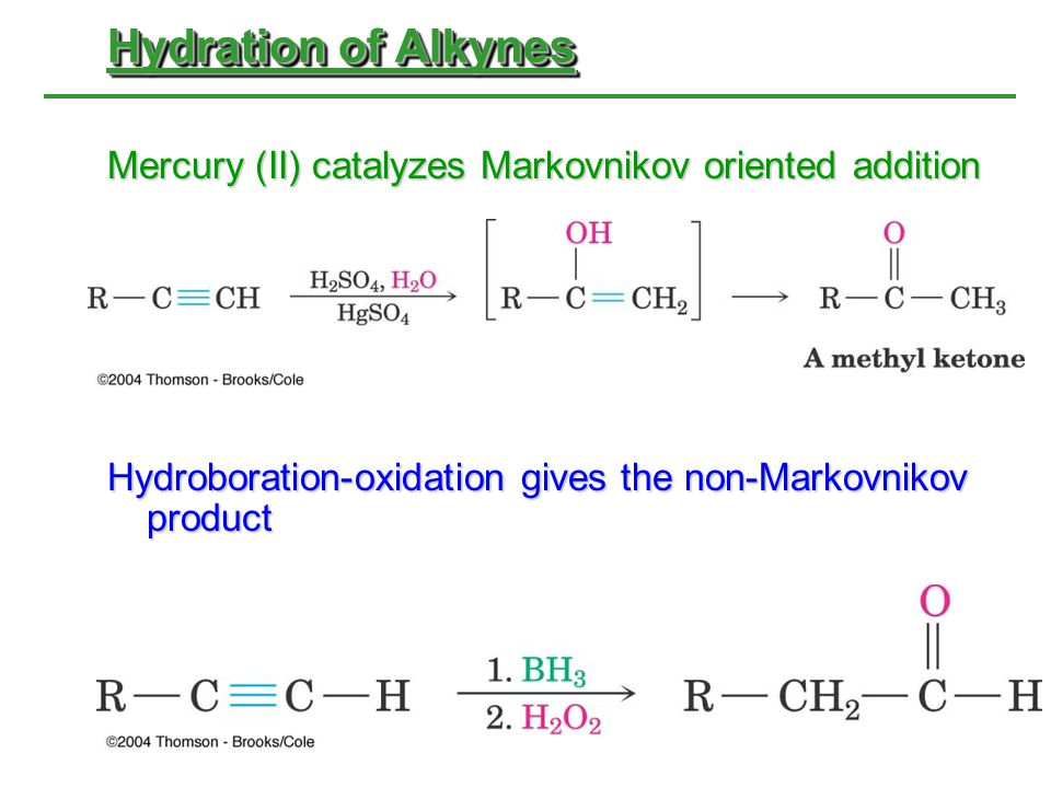 Hydration of Alkynes Mercury (II) catalyzes Markovnikov oriented addition.