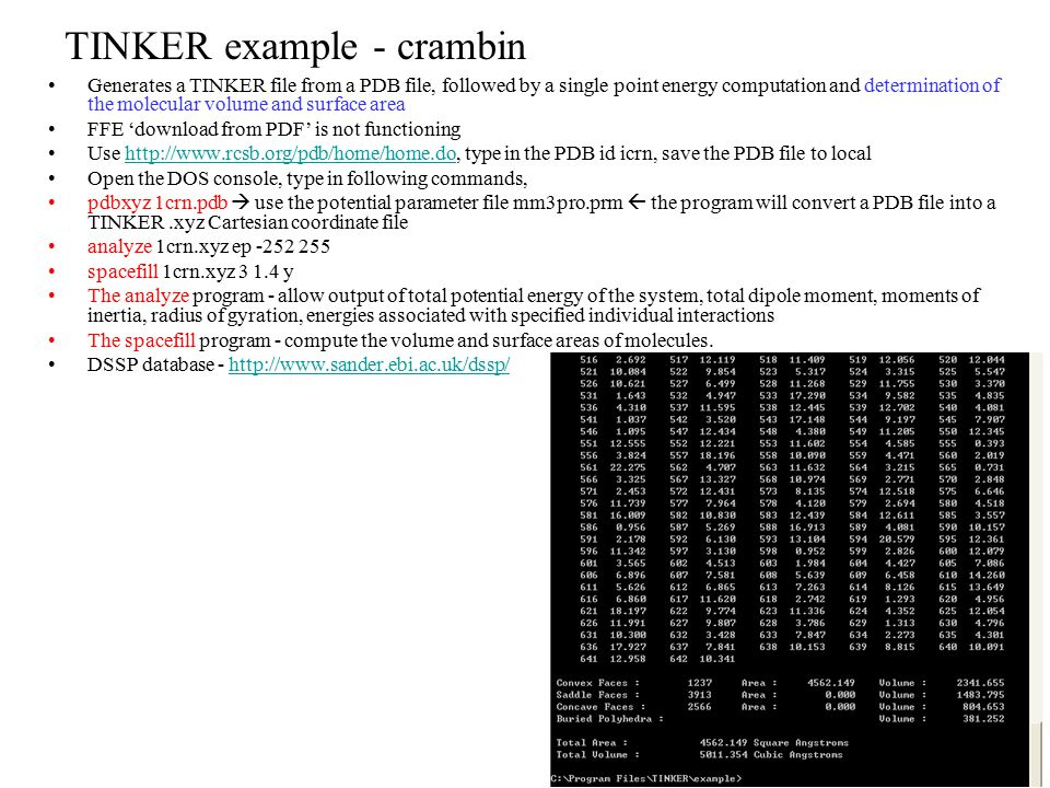 TINKER example - crambin