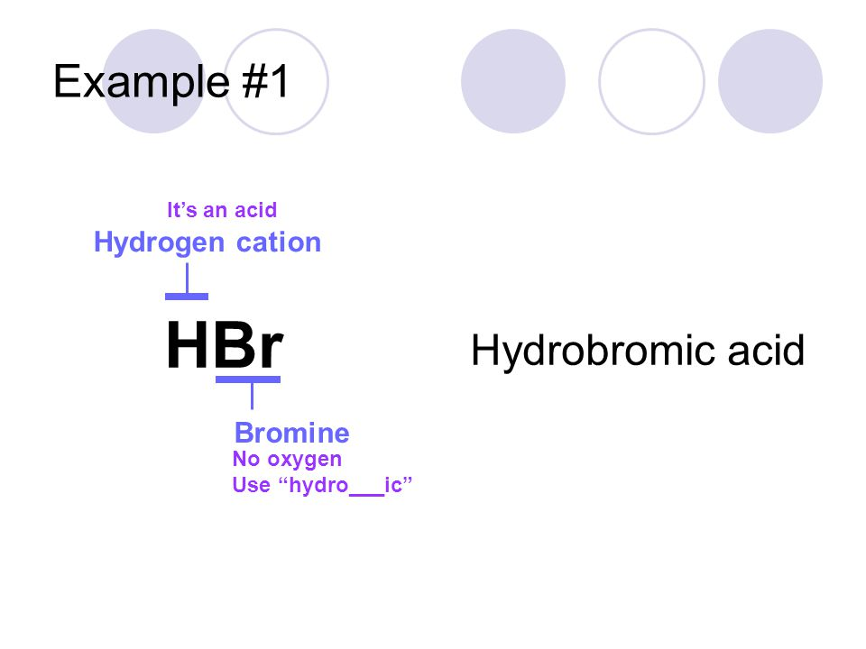 HBr Example #1 Hydrobromic acid Hydrogen cation Bromine It's an acid