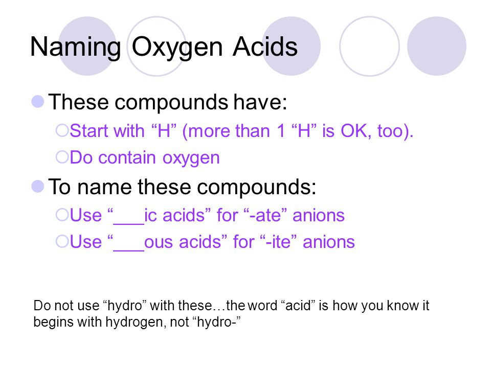 Naming Oxygen Acids These compounds have: To name these compounds: