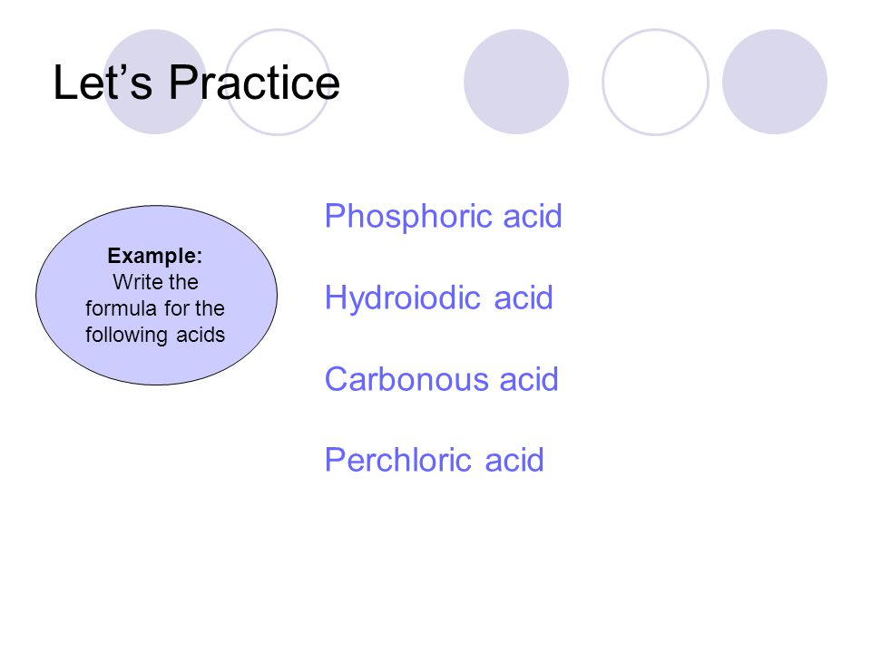 Write the formula for the following acids