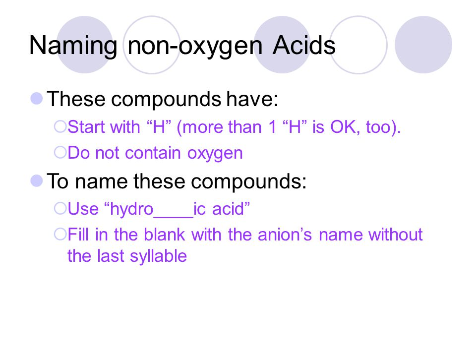 Naming non-oxygen Acids