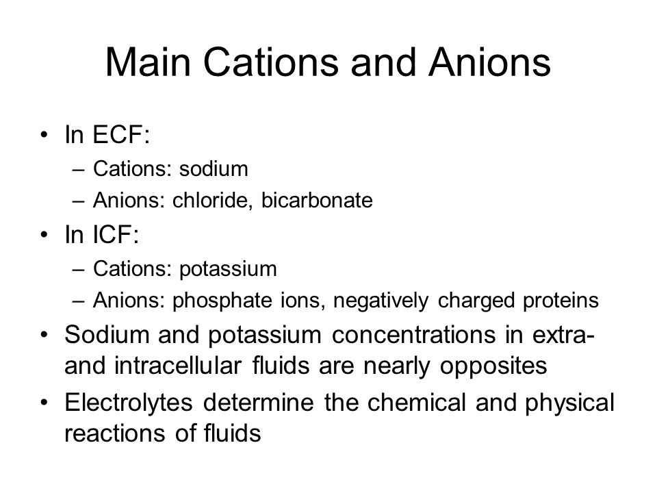 Main Cations and Anions