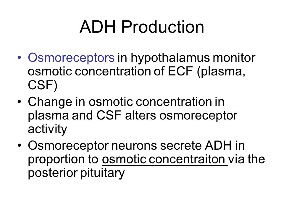 ADH Production Osmoreceptors in hypothalamus monitor osmotic concentration of ECF (plasma, CSF)
