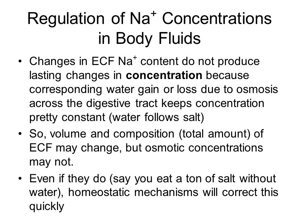 Regulation of Na+ Concentrations in Body Fluids