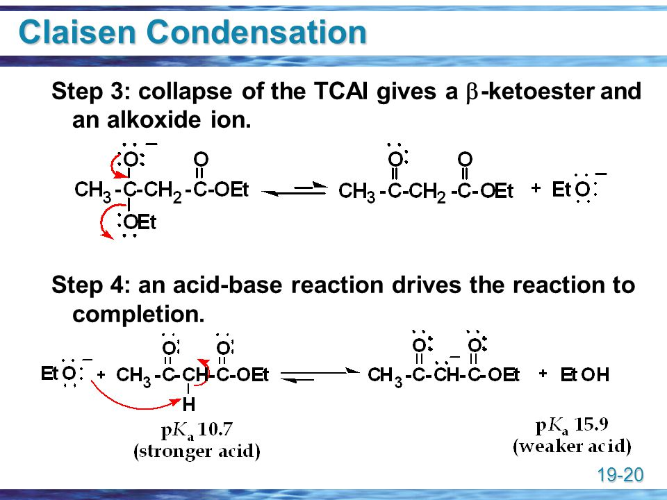 Claisen Condensation Step 3: collapse of the TCAI gives a -ketoester and an alkoxide ion.