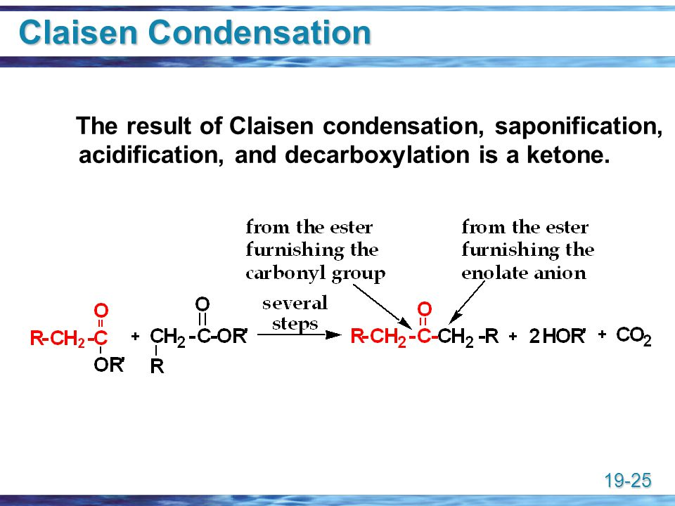 Claisen Condensation The result of Claisen condensation, saponification, acidification, and decarboxylation is a ketone.