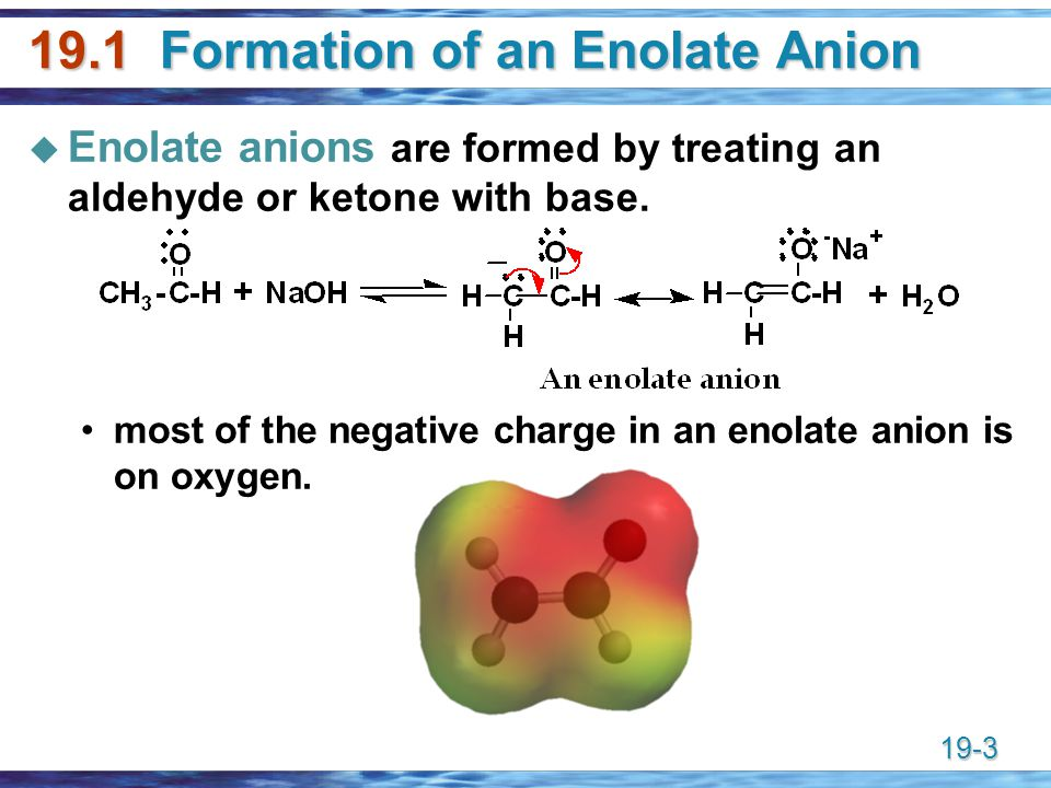 19.1 Formation of an Enolate Anion