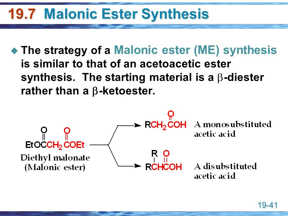 19.7 Malonic Ester Synthesis