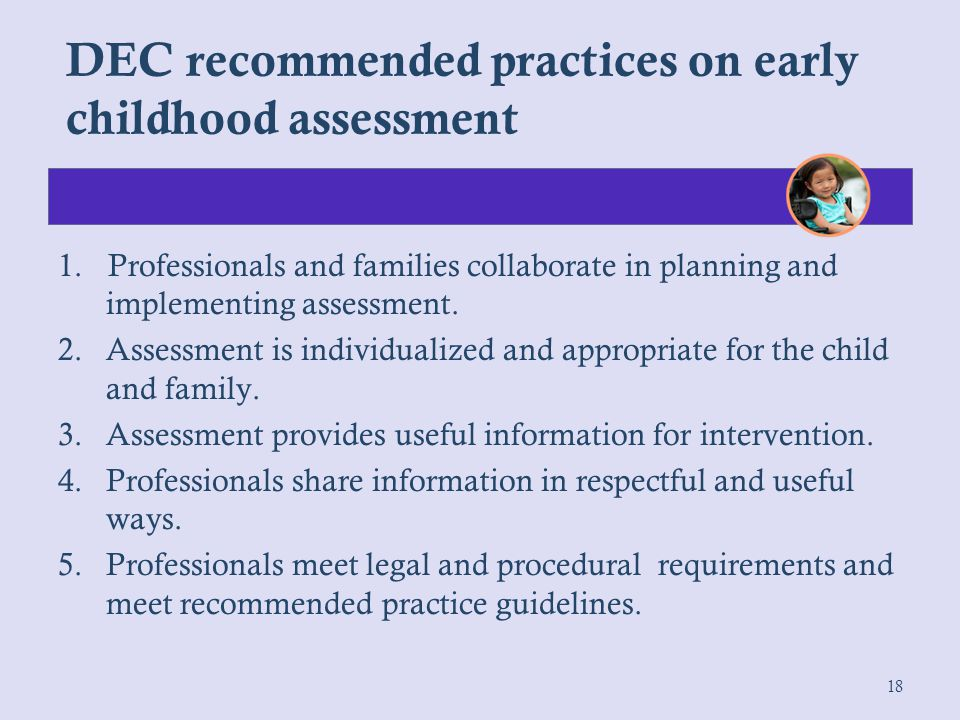 DEC recommended practices on early childhood assessment
