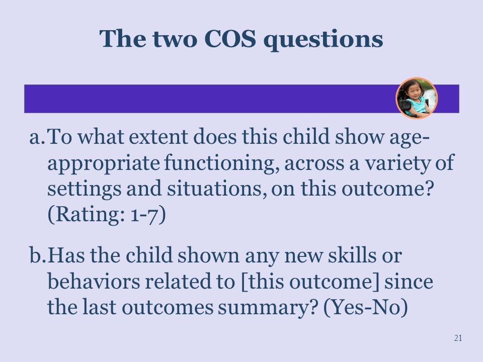 The two COS questions