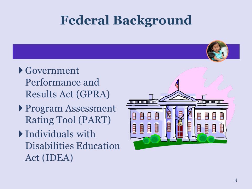 Federal Background Government Performance and Results Act (GPRA)