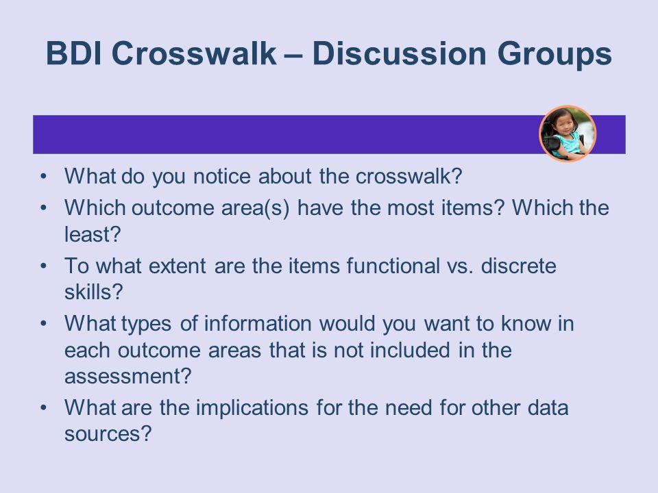 BDI Crosswalk – Discussion Groups
