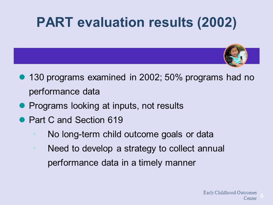 PART evaluation results (2002)