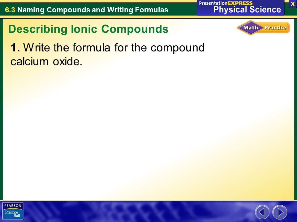 describe how to write the formulas for binary ionic compounds