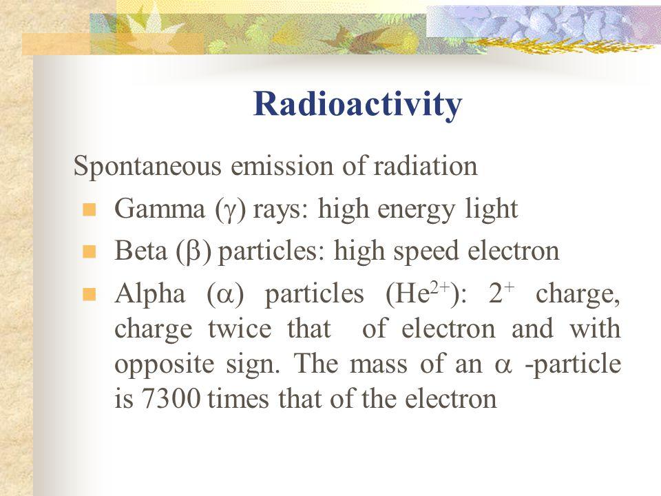 Radioactivity Spontaneous emission of radiation