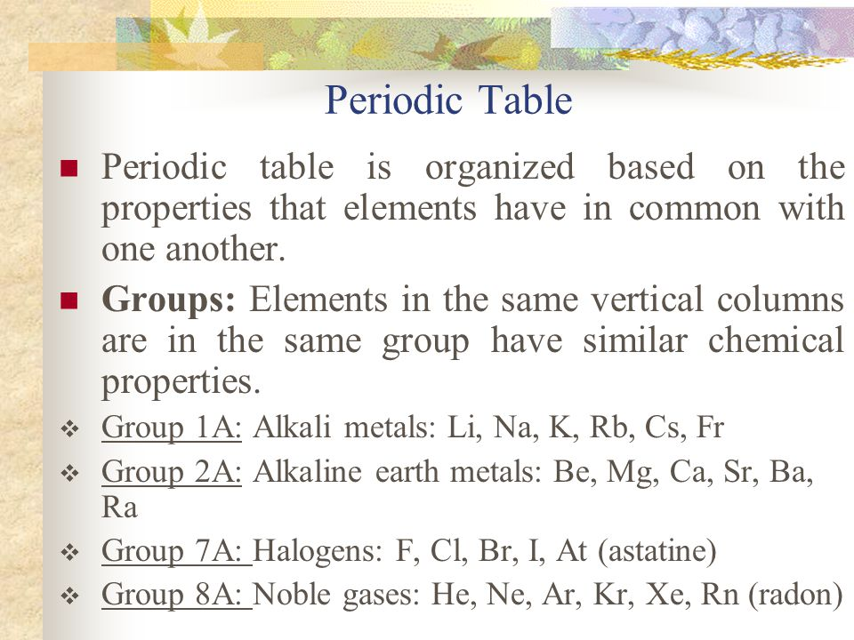 Periodic Table Periodic table is organized based on the properties that elements have in common with one another.