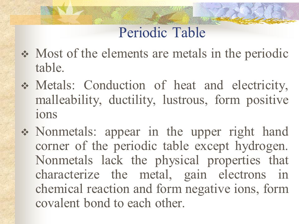Periodic Table Most of the elements are metals in the periodic table.