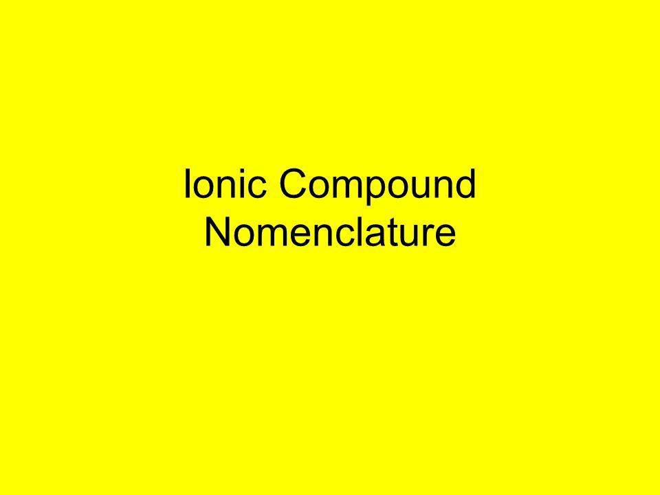 Ionic Compound Nomenclature