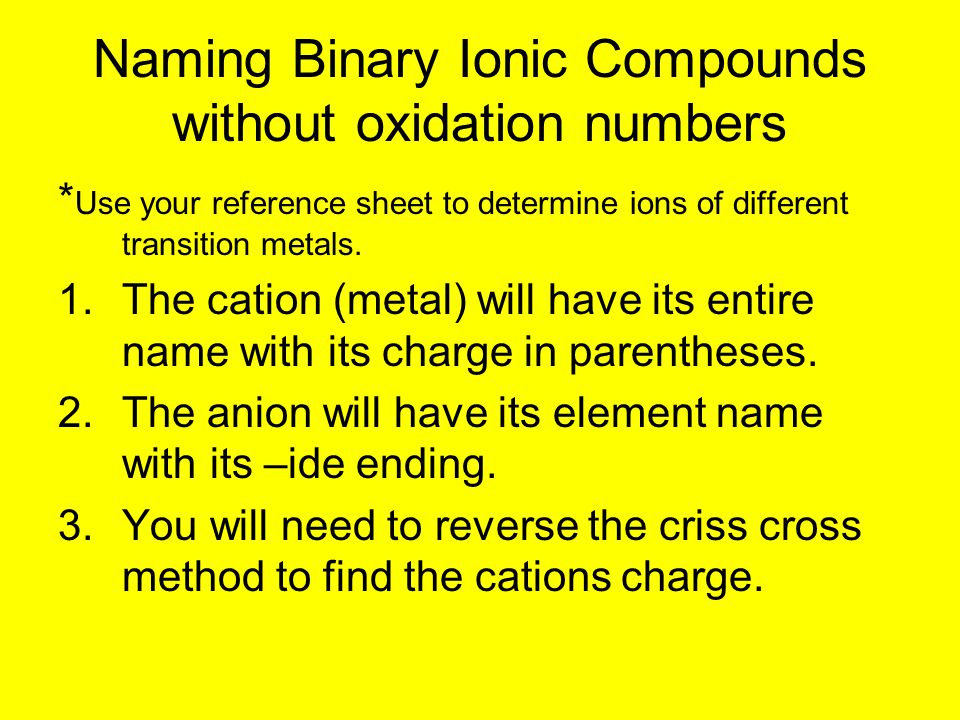 Naming Binary Ionic Compounds without oxidation numbers