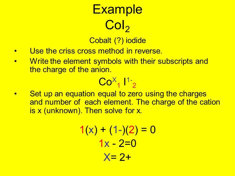 Example CoI2 CoX1 I1-2 1(x) + (1-)(2) = 0 1x - 2=0 X= 2+