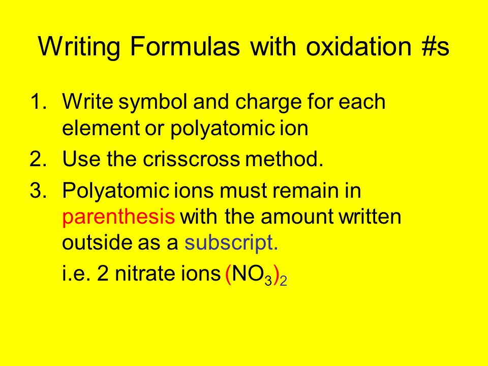Writing Formulas with oxidation #s