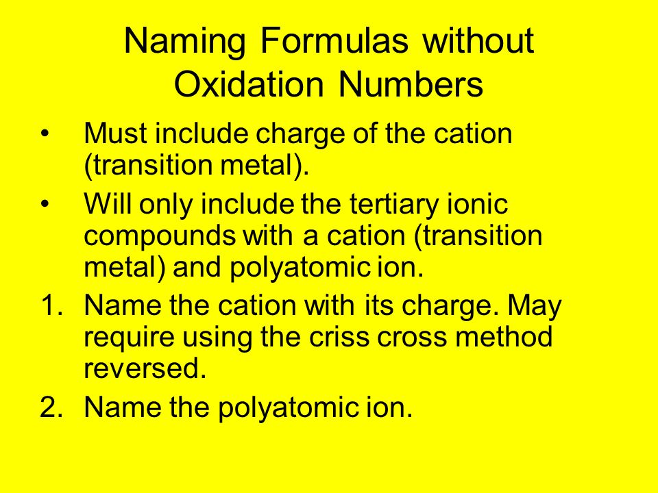 Naming Formulas without Oxidation Numbers