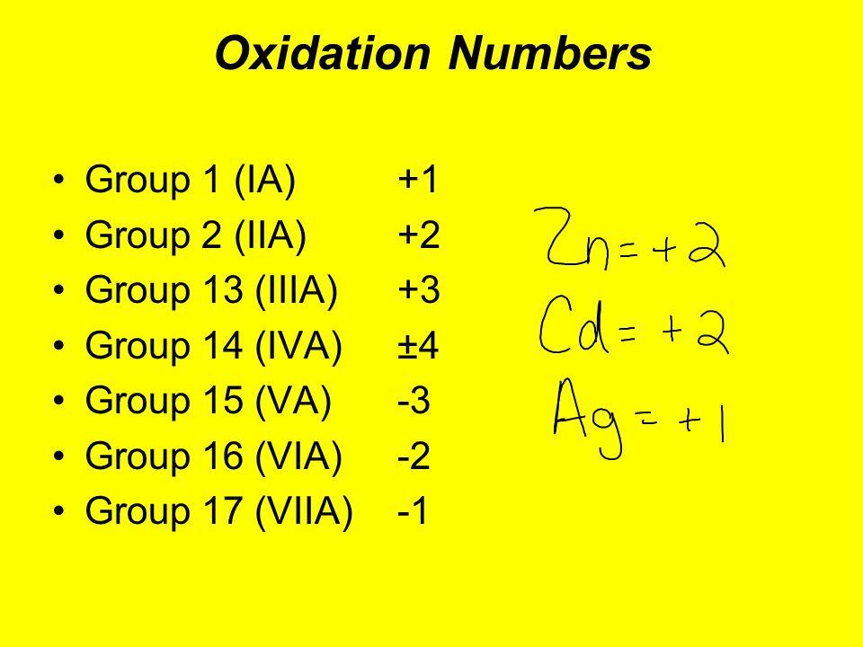 Oxidation Numbers Group 1 (IA) +1 Group 2 (IIA) +2 Group 13 (IIIA) +3