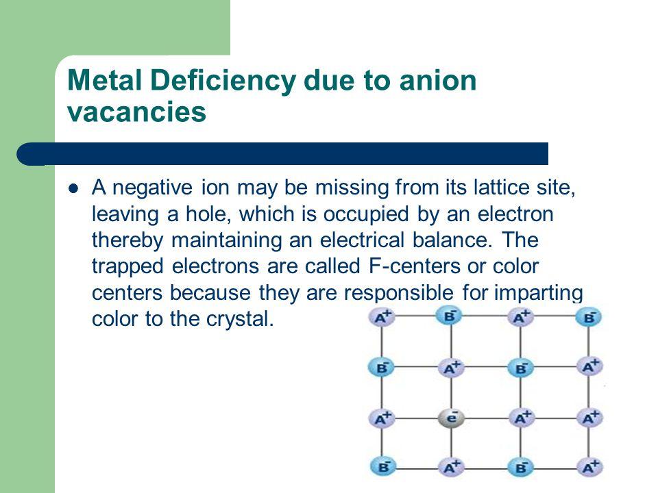 Metal Deficiency due to anion vacancies