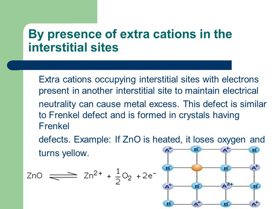 By presence of extra cations in the interstitial sites