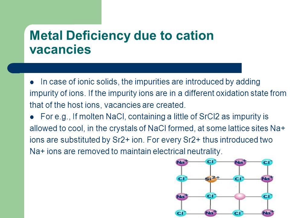 Metal Deficiency due to cation vacancies