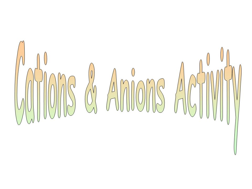 Cations & Anions Activity