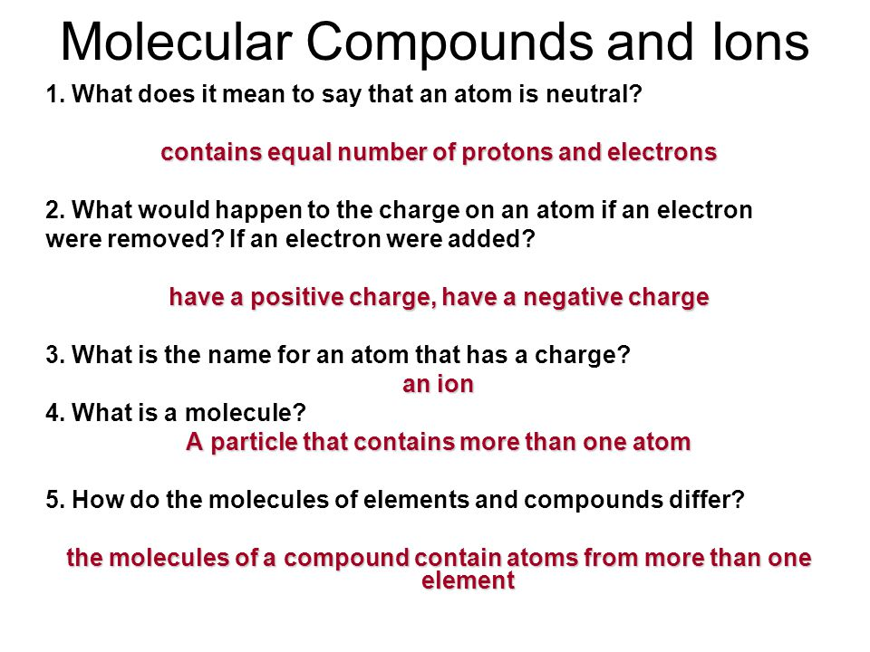 Molecular Compounds and Ions