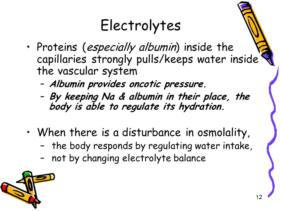 Electrolytes Proteins (especially albumin) inside the capillaries strongly pulls/keeps water inside the vascular system.