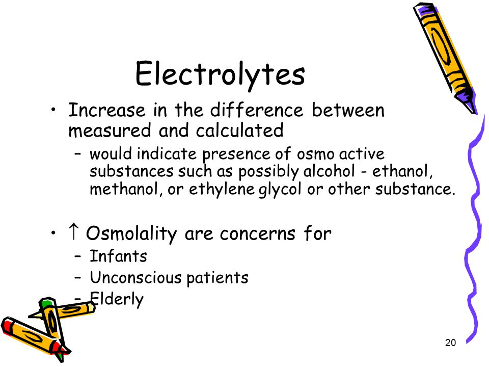 Electrolytes Increase in the difference between measured and calculated.