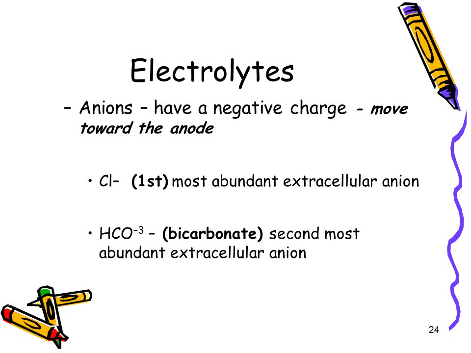 Electrolytes Anions – have a negative charge - move toward the anode