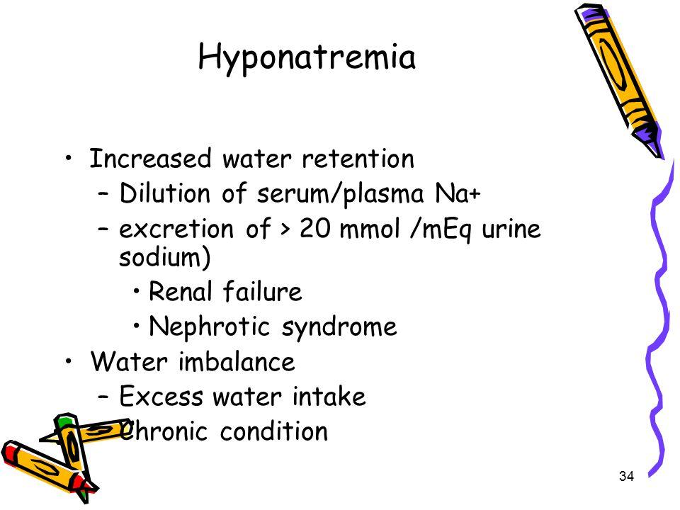 Hyponatremia Increased water retention Dilution of serum/plasma Na+
