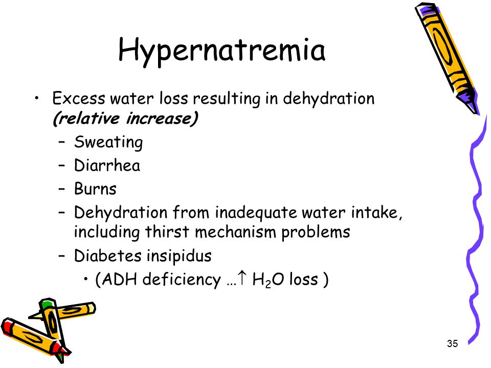 Hypernatremia Excess water loss resulting in dehydration (relative increase) Sweating. Diarrhea. Burns.