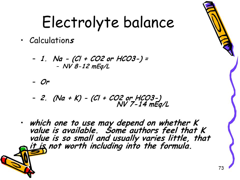 Electrolyte balance Calculations