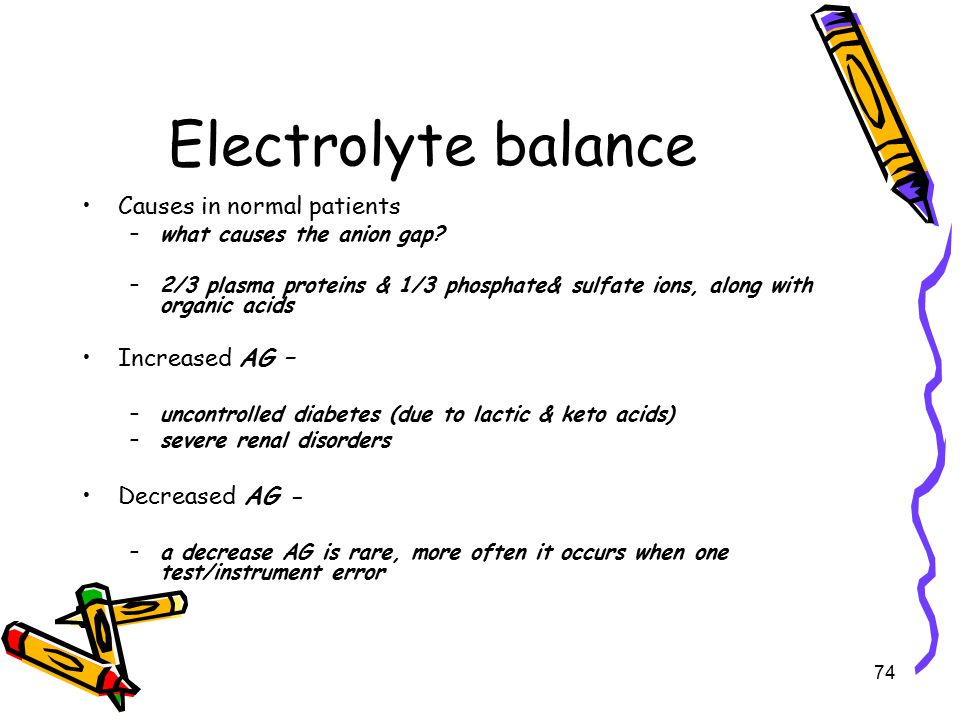 Electrolyte balance Causes in normal patients Increased AG –