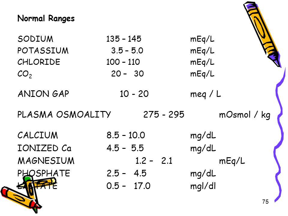 PLASMA OSMOALITY 275 - 295 mOsmol / kg CALCIUM 8.5 – 10.0 mg/dL