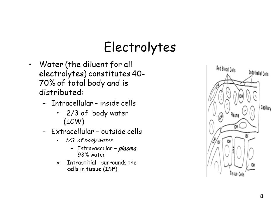 Electrolytes Water (the diluent for all electrolytes) constitutes 40-70% of total body and is distributed: