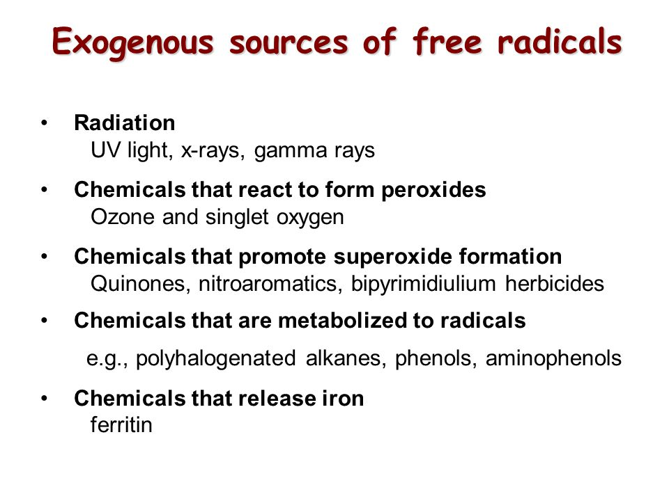 Exogenous sources of free radicals
