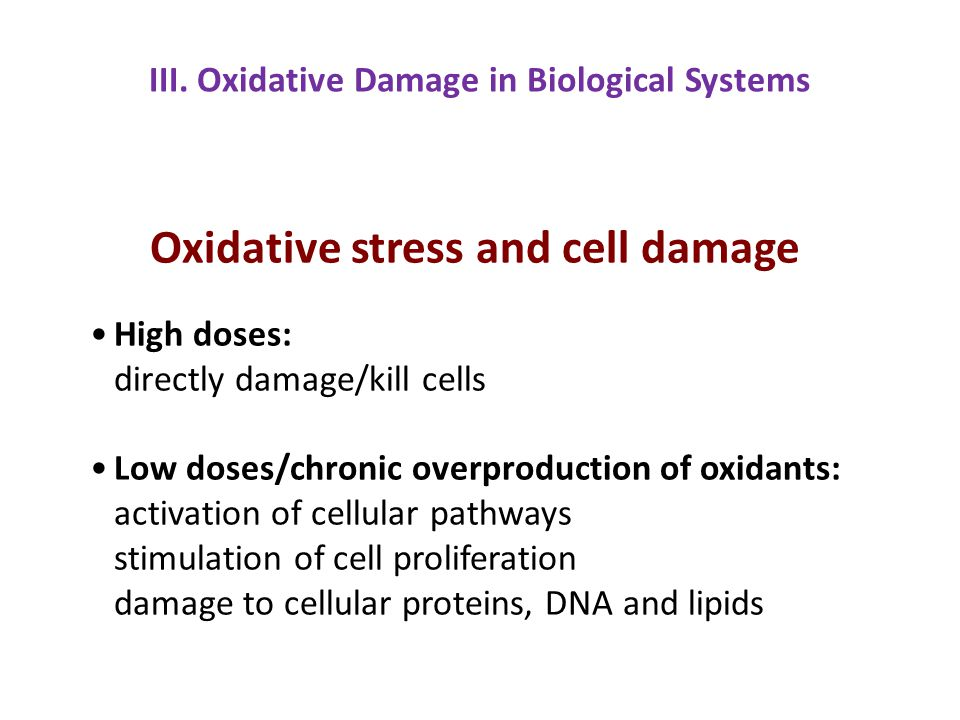 Oxidative stress and cell damage