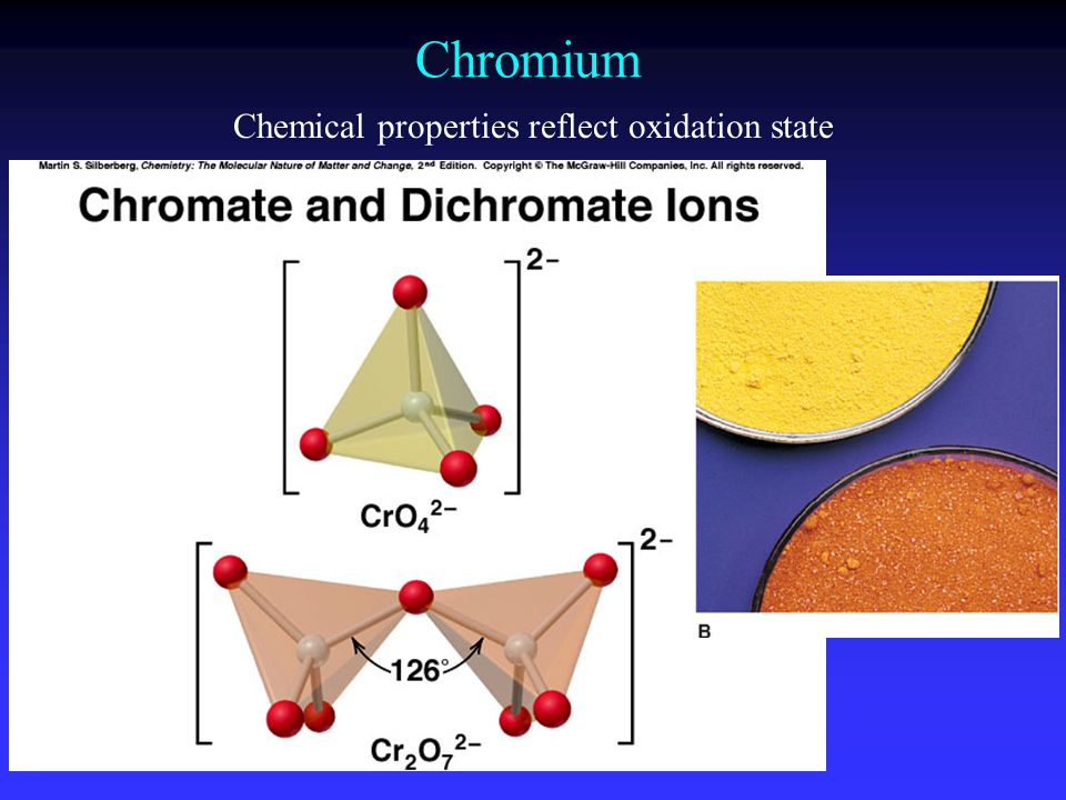 Chemical properties reflect oxidation state