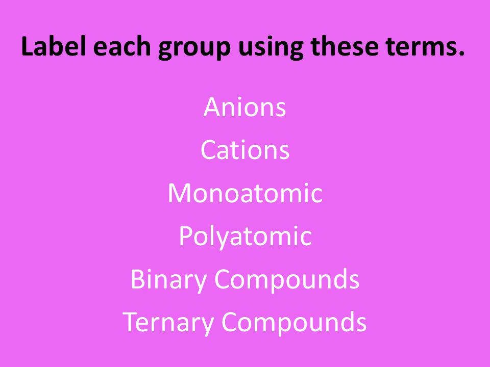 Label each group using these terms.