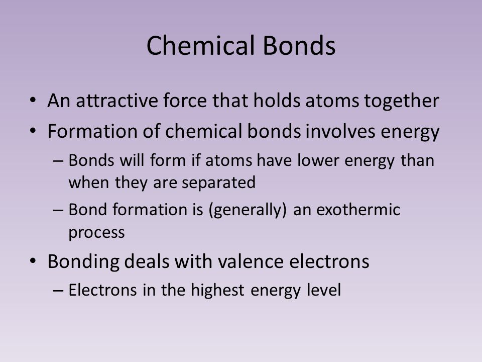 Chemical Bonds An attractive force that holds atoms together