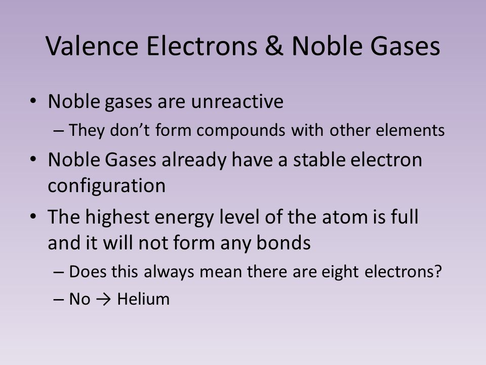 Valence Electrons & Noble Gases